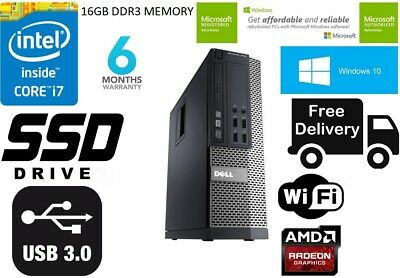 Dell OptiPlex 7010SFF Desktop Computer i7 3770 3.4Ghz 16GB 128GB SSD Wifi Win 10