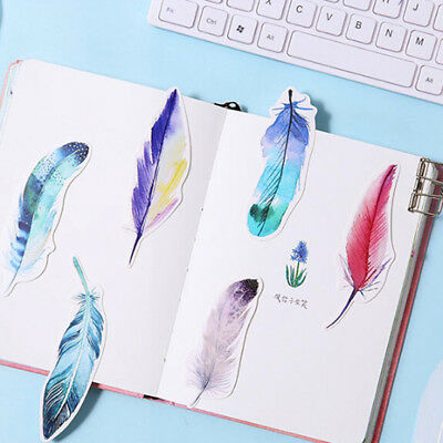 Bookmarks School Supplies Office 30Pcs Bookmarks Colorful Cute Paper Feather BS