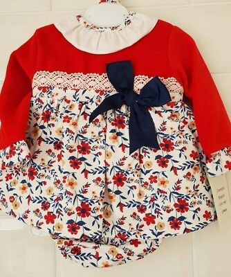 Spanish Baby Girl Red Floral Frill Collar Dress, Pants and Bonnet Set.