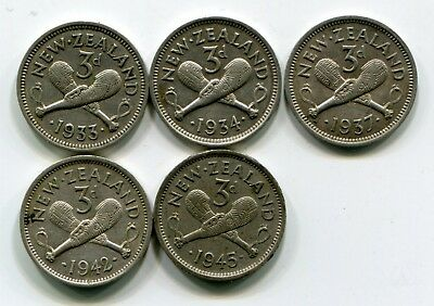 New Zealand, 1933 1934 1937 1942 And 1945 Threepences (5 Coins, All Silver)