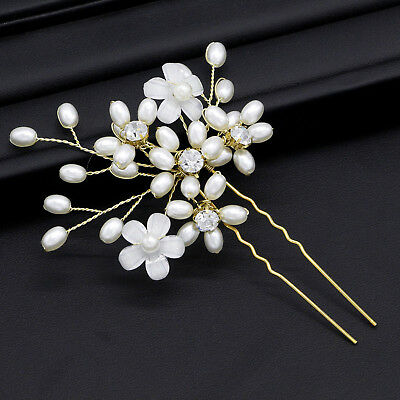 Gold Color Crystal Pearl Beads Flower Hair Pins Women Wedding Hair Accessories