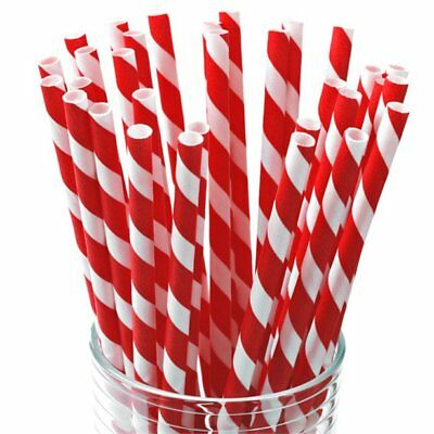 "Red And White Striped Paper Straws 8"" (20cm) Biodegradable Compostable 6mm Bore"