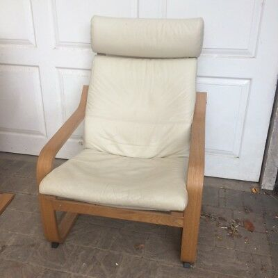 IKEA Poang Chair - Oak wood frame with cream leather cushions & IKEA POANG CHAIR - Oak wood frame with cream leather cushions ...