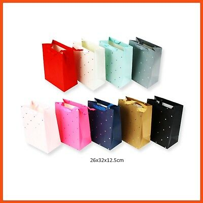 12 x LARGE ELEGANT PLAIN GIFT BAGS 26x32cm | Birthday Wedding Favours Party Bags