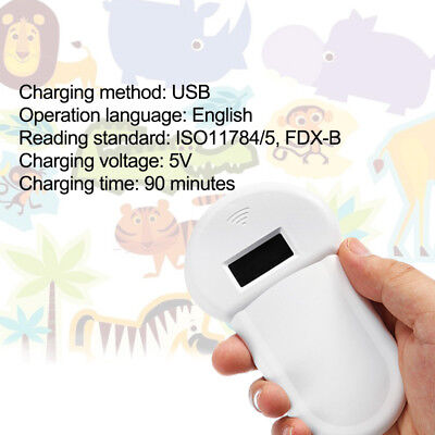 RFID 134.2Khz ISO FDX-B Animal Pet Microchip Recognition Reader Ear Tag Scanner