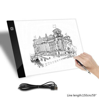 A4 LED Drawing Board Tracing Light Box Tattoo Art Stencil Slim Lightbox Pad 1-3A