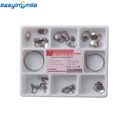1 Pack Dental Sectional Contoured Metal soft Matrices Full kit Thickness 50μm