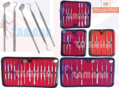 8 Pcs Professional Dental Kit Mirror Scaler Set Stainless Dentist PU Leather Ki