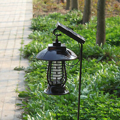 Solar Power Lamp Light LED Fly Insect Bug Mosquito Zapper Killer Night Lamp