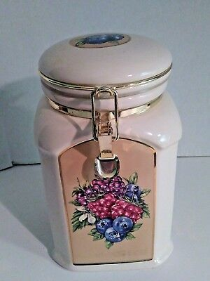 """Big Knotts Berry Farm Cookie Jar 4-sided w Tilted Round Top 10"""" Ceramic Canister"""