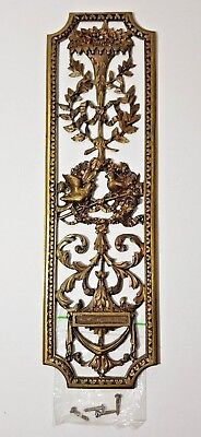 Reclaimed Brass Door Finger Push Plate - Pierced Victorian Birds & Flowers 10""