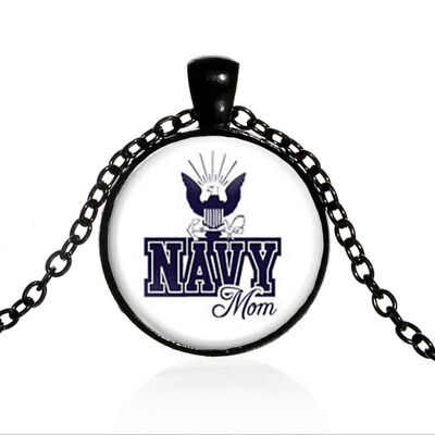 Navy Mom Black Dome glass Photo Art Chain Pendant Necklace