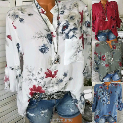 Women's Long Sleeve Casual Tops Blouse Ladies Summer Loose Floral Tee T Shirt