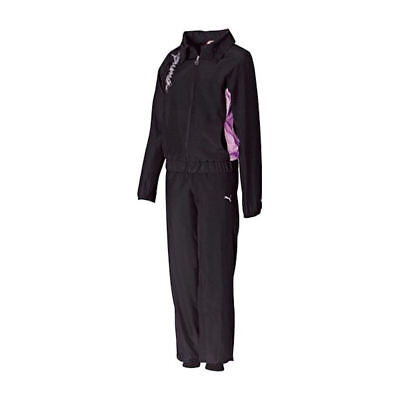 Puma Junior Girls Black Woven Tracksuit. Girls Tracksuit. Puma Tracksuit.
