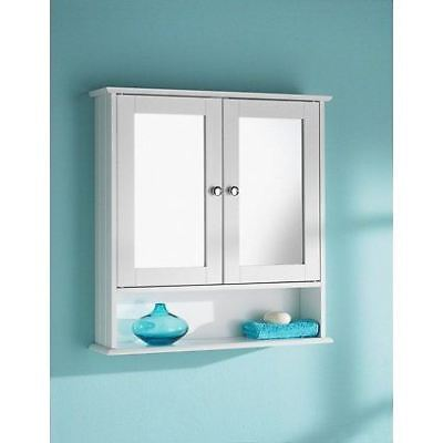 Double Door Mirror Wall Mounted Bathroom Cabinet with Shelf