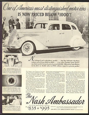 NASH Automobile FEB 1936 Ambassador Super-8 Original Print Ad