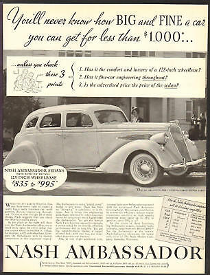 NASH Automobile MAY 1936 Ambassador Original Print Ad