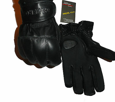Black Genuine Leather Premium Quality with Sand Shots Gloves – Kevlar lining
