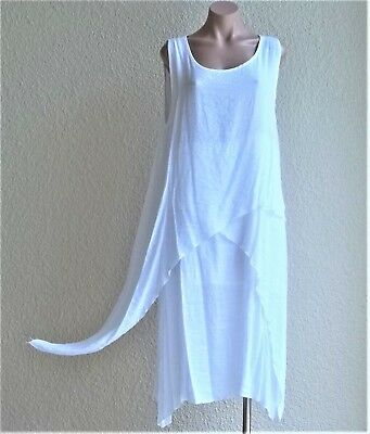 India Boutique Multiple Layer Lined White Dress / Cover Up, Uneven Hem, ONE SIZE