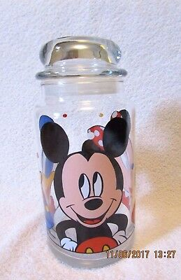 Walt Disney Co. Mickey & Minnie Mouse Donald Duck Glass Candy Jar Canister VGC!!
