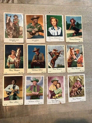 Nice lot of 21 small old cowboy cowgirl cards Roy Rogers Rex Allen Penny Edwards