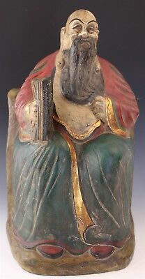 Vintage Chinese Export Carved Wood Seated Wise Man Figural Sculpture
