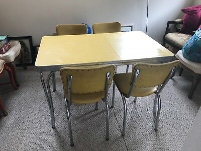 VINTAGE 1950S FORMICA & Chrome Kitchen Table w/ 4 Chairs ...