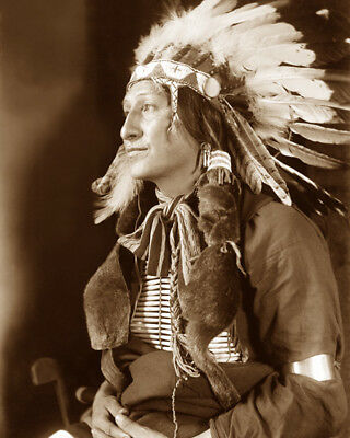 JOE BLACK (headdress) 1898 SIOUX NATIVE AMERICAN SEPIA PHOTO