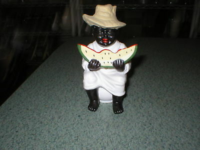 "Vintage Black Americana Mammy Eating Watermelon Porcelain Figurine Ceramic 5"" T"