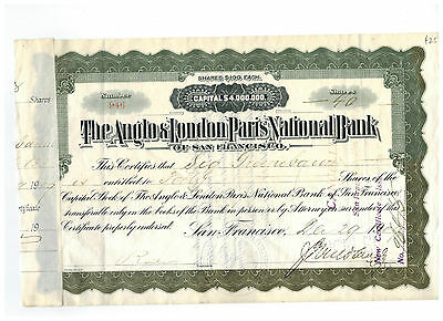 The Anglo & London Paris National Bank 1909 Stock Certificate #946