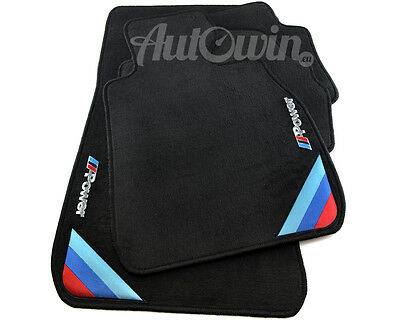 BMW 1 Series E82 Black Floor Mats With M Power Emblem & Side Clips RHD UK NEW