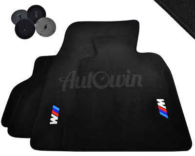 BMW 5 Series E60 Black Floor Mats Set with /// M Logo with Clips RHD UK NEW