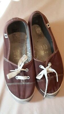 Womens Size 8 CONVERSE ONE*STAR BROWN WEDGE HEEL CANVAS SNEAKERS SHOES Sz 8