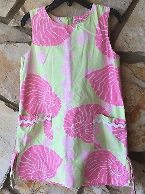 Lily Pulitzer Girls Shift Dress Size 6 Pink Green Floral White Label READ