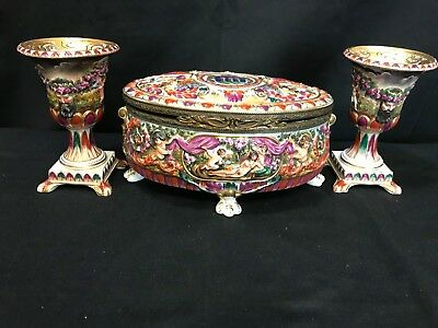 Capodimonte Hinged Trinket / Jewelry Box w/Claw Feet &  (2) Chalices BEAUTIFUL!!