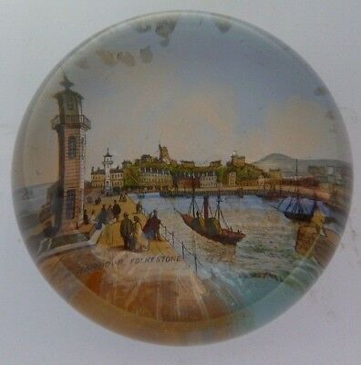 Victorian Glass Paperweight Of Folkstone Harbour
