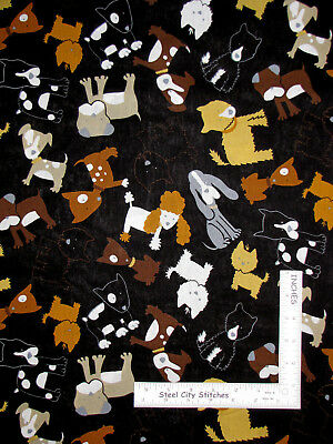 Cotton Dogs Puppies Toys Animals Poodles Kids Cotton Fabric Print BTY D584.39
