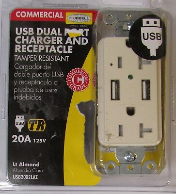 HUBBELL USB20XLAZ 20 Amp 125V USB Dual Port Charger Receptacle ALMOND