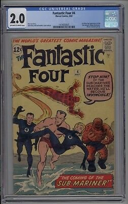 Fantastic Four #4 CGC 2.0 GD 1st Silver Age Sub-Mariner 1962 Jack Kirby Stan Lee