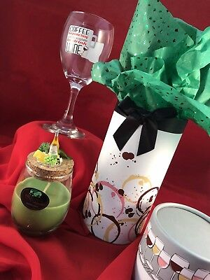 """J20 Wine Glass Gift box  """"Coffee keeps me busy till Wine"""" Wine Candle Gift Set"""
