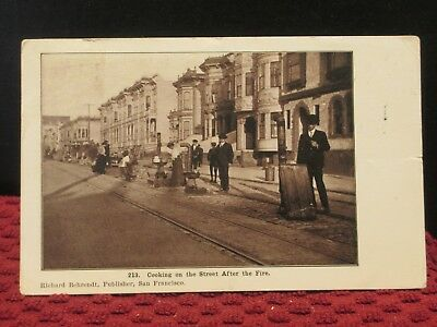 1906. Cooking On The Street After The Fire. San Fran. , Calif. Antique Postcard.