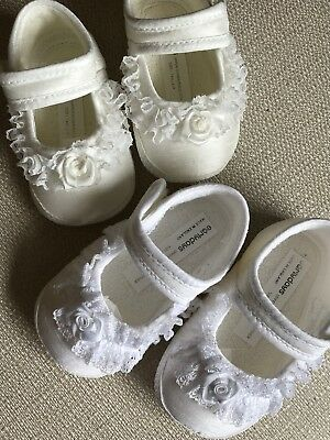 Baby Girls Christening Shoes Frilly Lace Satin Ivory or White 0-3 3-6 6-12 12-18