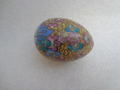 ANTIQUE OR VINTAGE Chinese sea life fish Old Cloisonne Hand Carved Egg EASTER