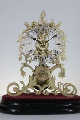 ANTIQUE ENGLISH SKELETON CLOCK 8 day single fusee FINE DIAL & PLATES working