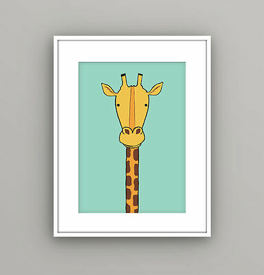 Nursery Kids Childrens Bedroom Safari Animal Giraffe Wall Art Picture A4 Print