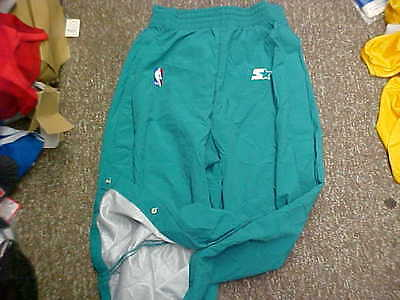 NBA Charlotte Hornets 1997-98 Game Worn Teal Starter Warm-Up Pants Size  14921875f
