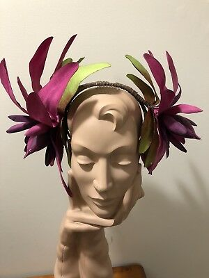 Wendy White Millinery Melbourne Cup Headpiece In Majenta Lilly Flowers