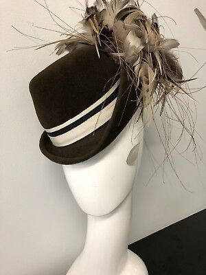 Wendy White Millinery Fascinator Melbourne Cup Chocolate Percher hat