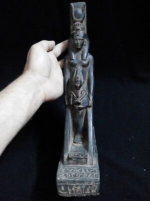 EGYPTIAN ARTIFACT ANTIQUITIES Winged Isis Protecting Osiris Statue 590-530 BC