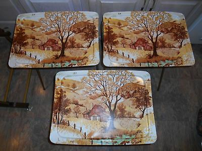 3 Vtg LAVADA Country Farm METAL TV TRAY TABLES/ROLLING CART STAND Brown/Gold